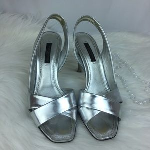Louis Vuitton Silver Slingback Heels